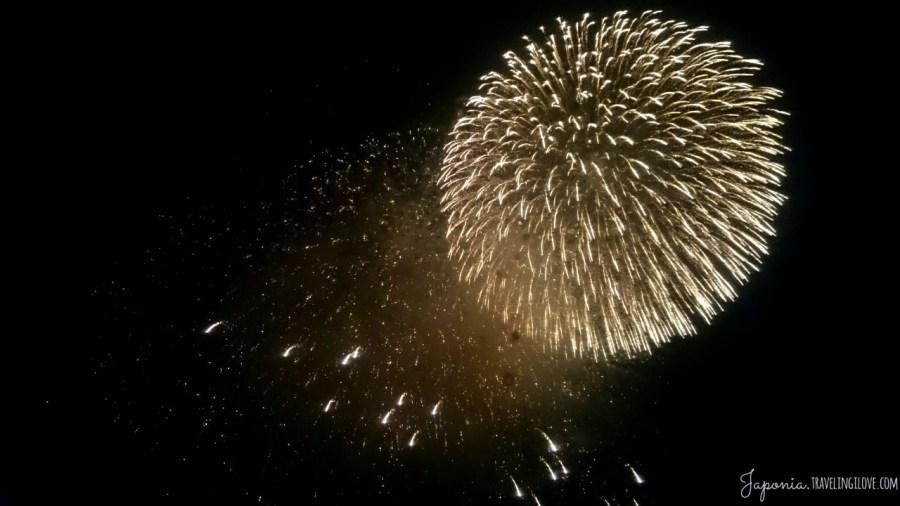 Fireworks druing a burning hill festival in Nara