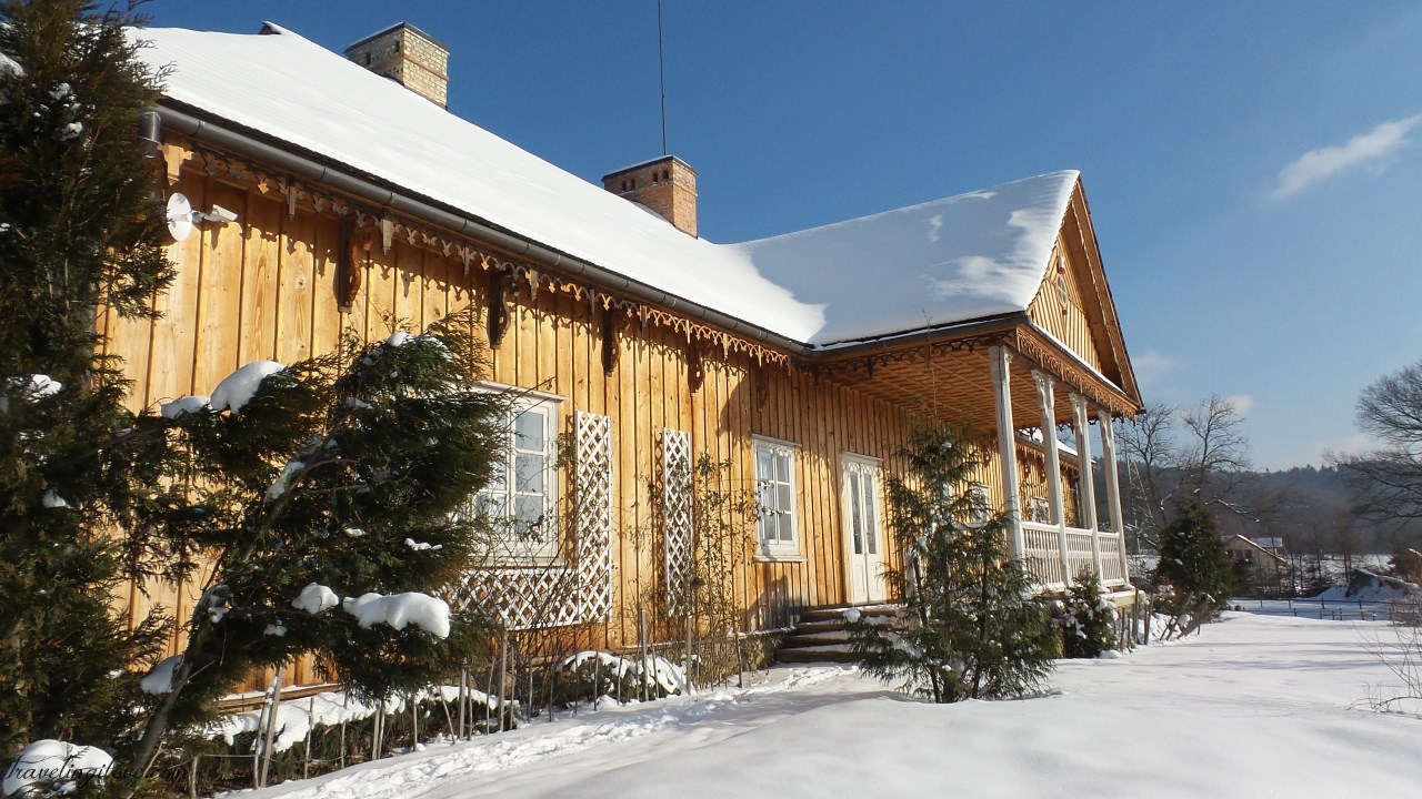 Sanok Open Air Museum in winter