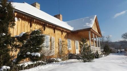 Sanok Open Air Museum in winter