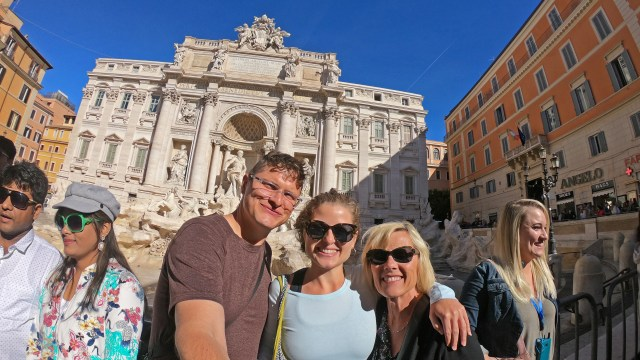 Brittany, grandma, Steve at Trevi Fountain @travelingintandem