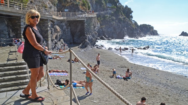 Grandma at Monterosso Beach, Cinque Terre @travelingintandem