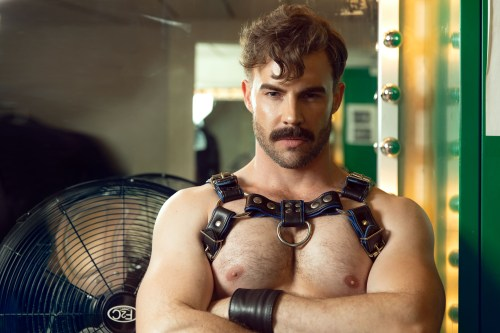 Dane de Bruin in leather. Sexy man in leather on gay cruise
