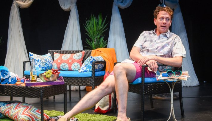 Drew Droege is his show Bright Colors And Bold Patterns