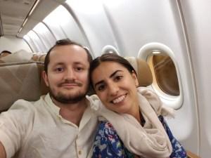 Smiling on plane