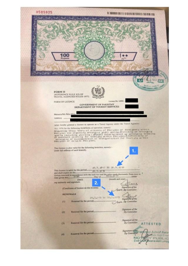 Pakistani Tourism License