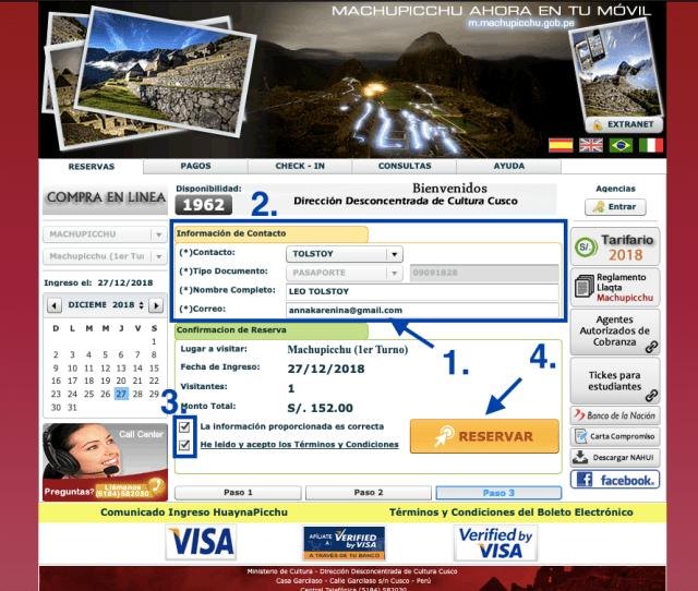 Machu Picchu TIckets Paso 3