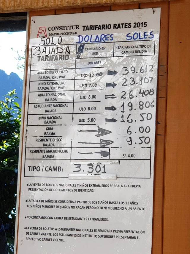 Machu Picchu Bus Prices