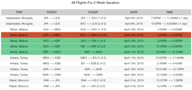 New Flight Itinerary Minsk