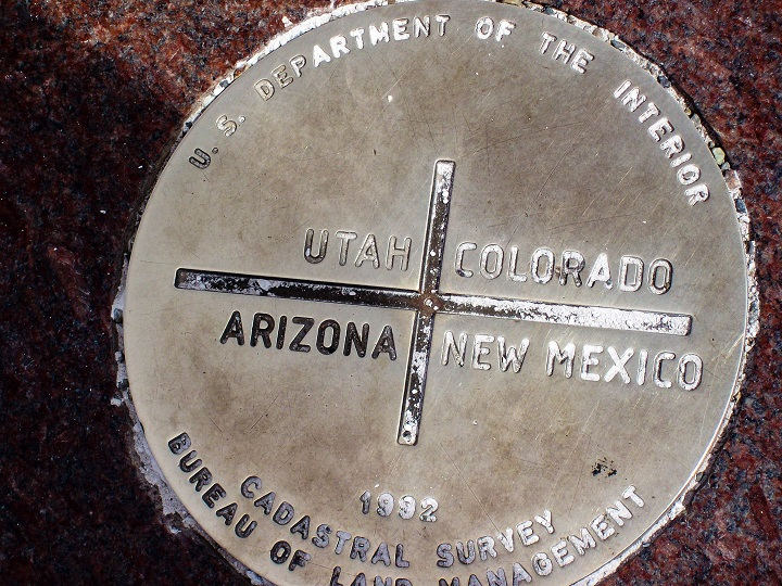 The exact spot at the 4 corners where Utah, Colorado, Arizona, and New Mexico meet!