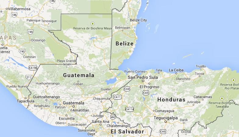 Location of Guatemala in Central America