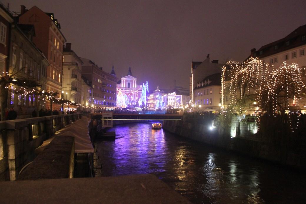 Ljubljanica River with Lights; Ljubljana, Slovenia; 2011
