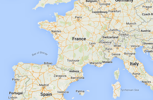 Location of France in Europe