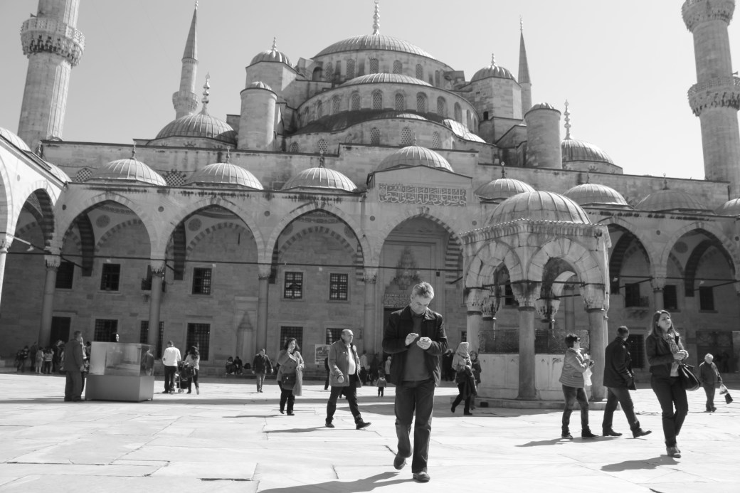 Exterior View of Blue Mosque - Black-n-White; Istanbul, Turkey; 2013