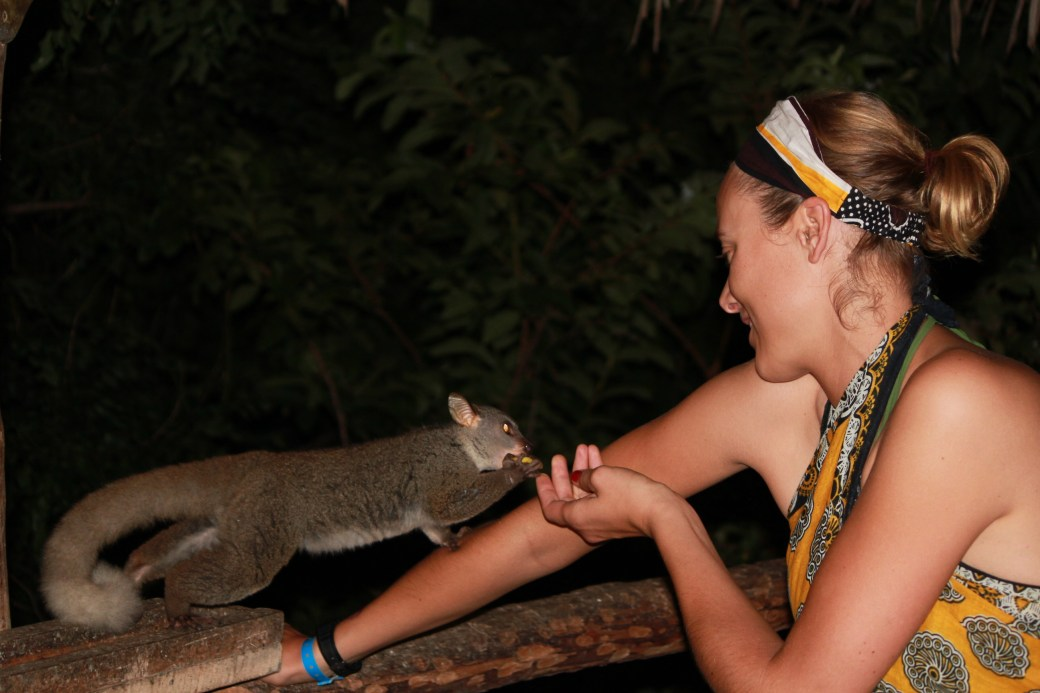 Kyla and a Bush Baby; Diani Beach, Kenya; 2011