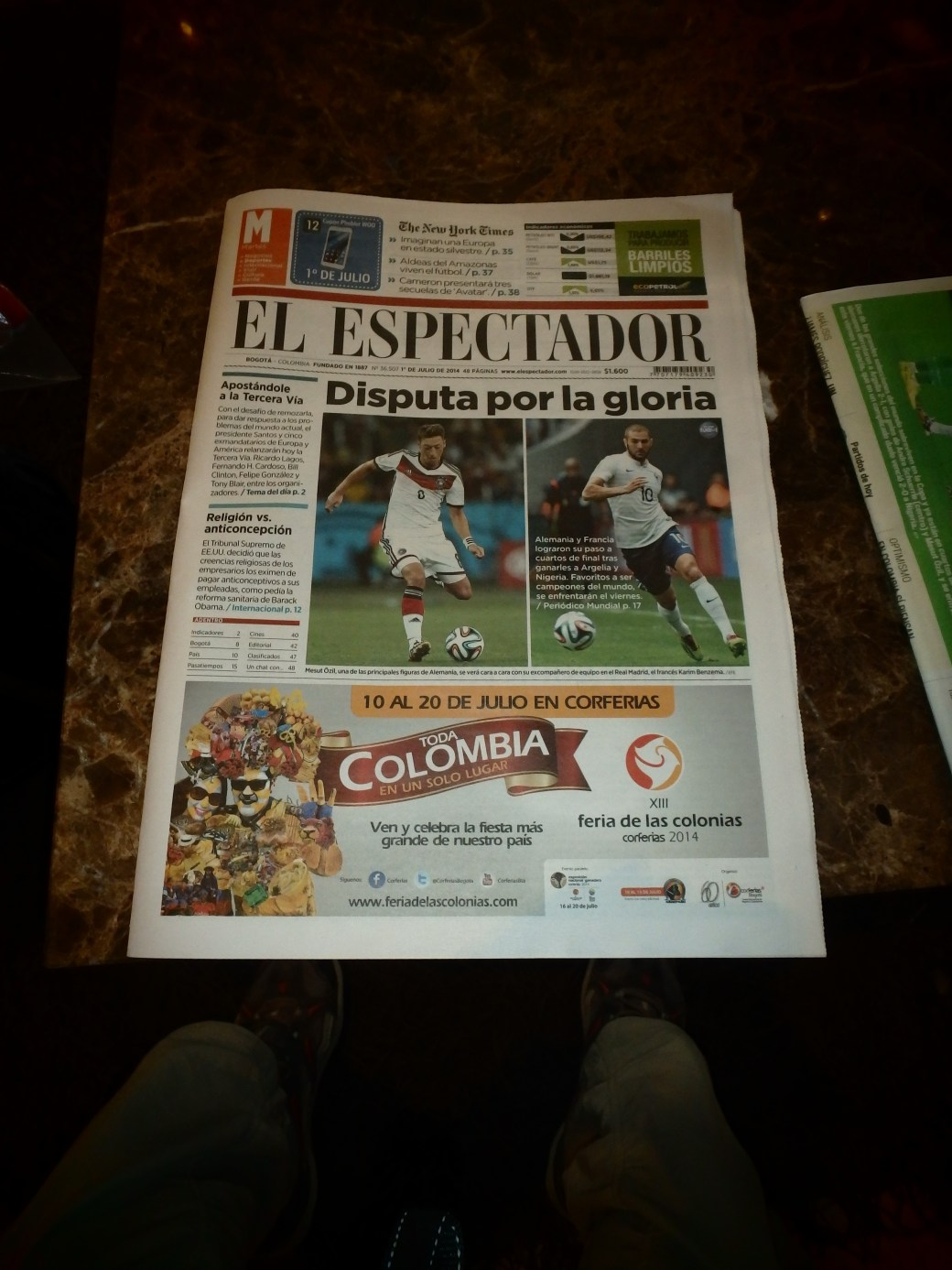 Colombia Local Newspaper;  Bogotá, Colombia; 2014