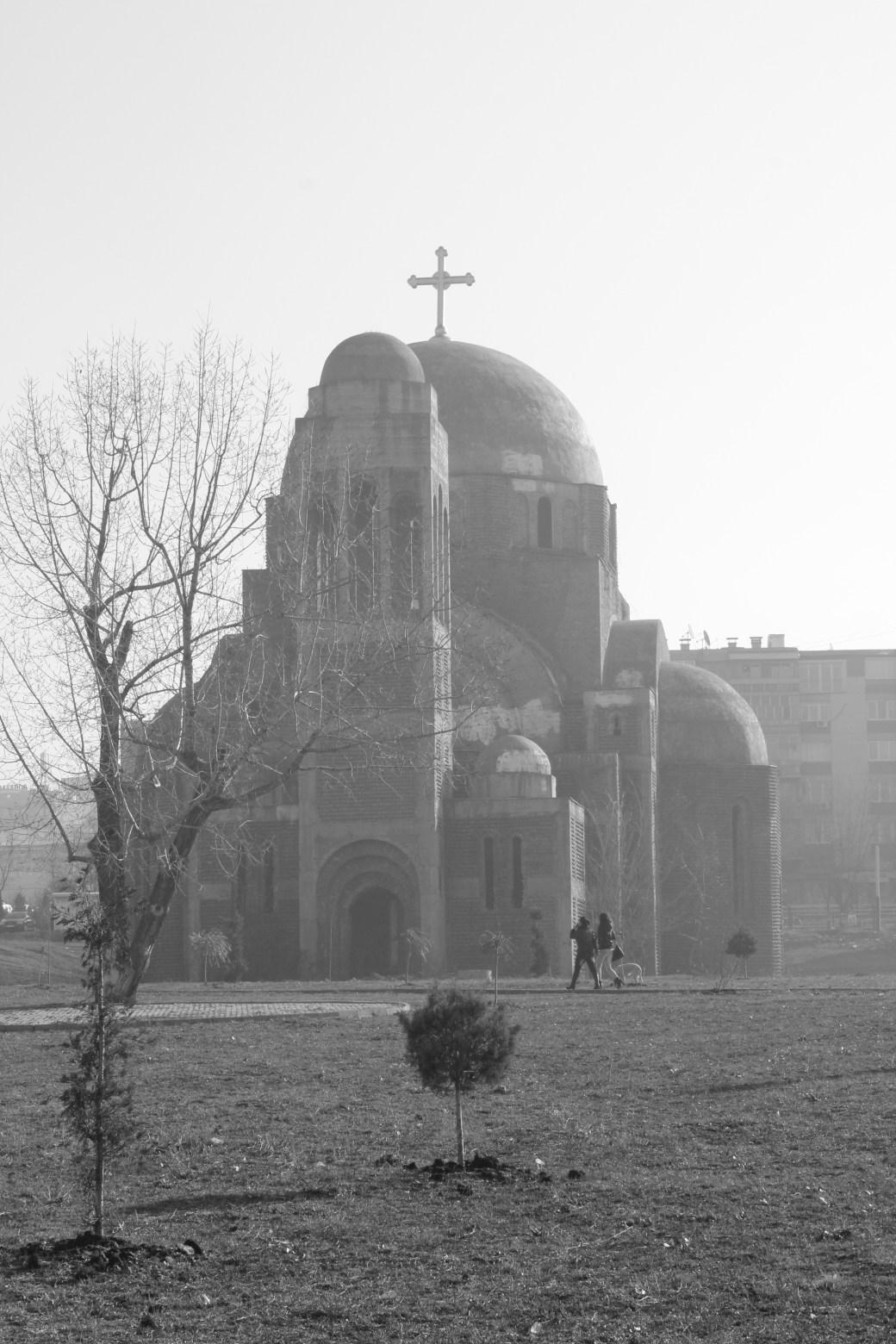 Black-n-white Serbian Orthodox Church; Pristina, Kosovo; 2013