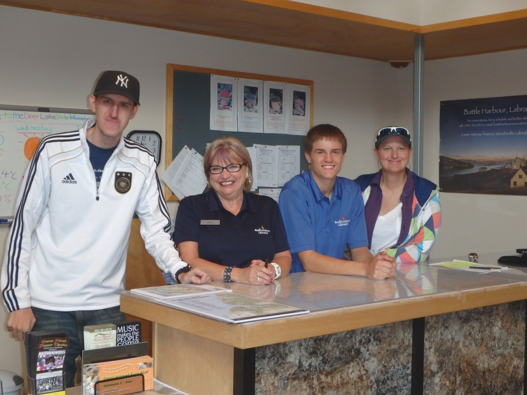Deer Lake Staff & Joshua, and I; Deer Lake Tourist Center; 2015
