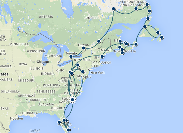 A Close-up of The Voyage of Discovery Phase 1: Part 5 Route in North America