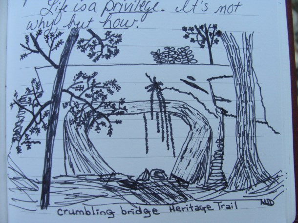 Crumbling Bridge Heritage Trail drawing