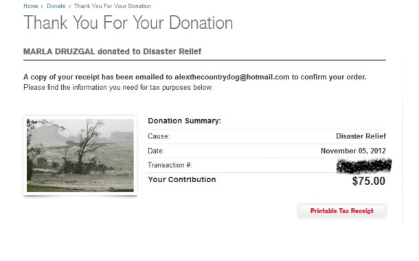 contest charity blog donation Hurricane Sandy
