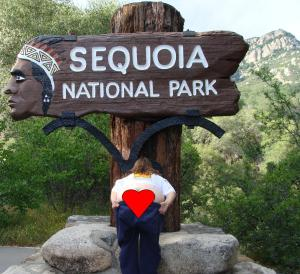 Sequoia National Park entrance sign, California