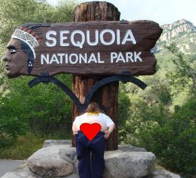 Sequoia National Park entrance sign, California