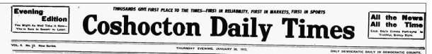 this day in history Coshocton Ohio historic newspaper 100 years ago