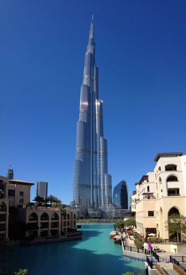 A panoramic of the Burj Khalifa, taken with my cell phone.