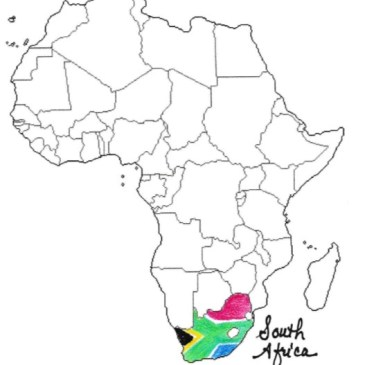 South Africa map rainbow