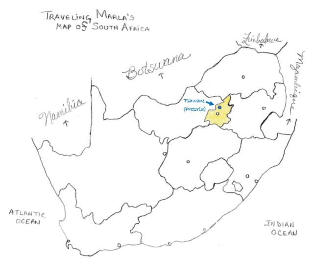 Pretoria Tshwane South Africa map
