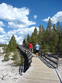 Norris Geyser Basin Yellowstone National Park hot springs, boardwalk, hiking at Norris