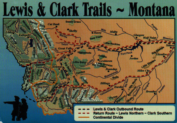Lewis and Clark Trail map in Montana