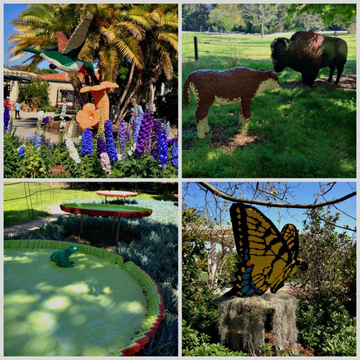 Lego art at the South Coast Botanic Garden includes a hummingbird, bison and calf, lily pads with a frog, and a Monarch butterfly.