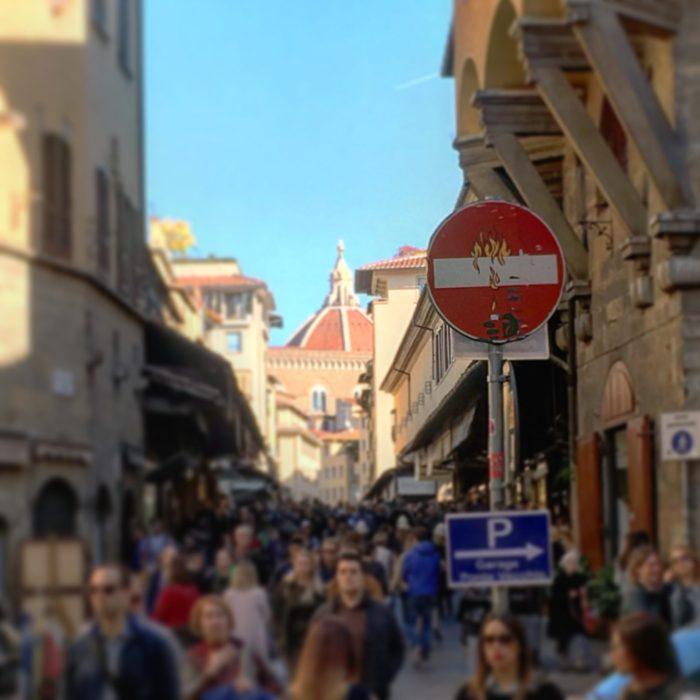 Florence street art. Clet Abraham guerrilla art street signs