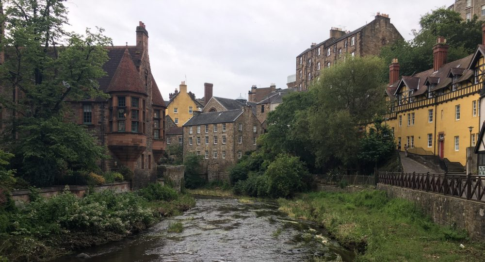 Walking the Water of Leith Walkway through Dean's Village is a great family activity in Edinburgh