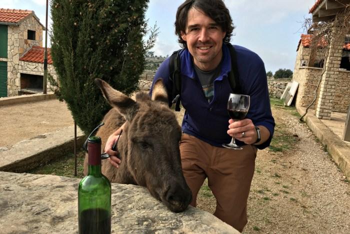 drinking wine with donkeys in croatia