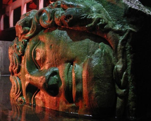 Medusa Column in Basilica Cistern