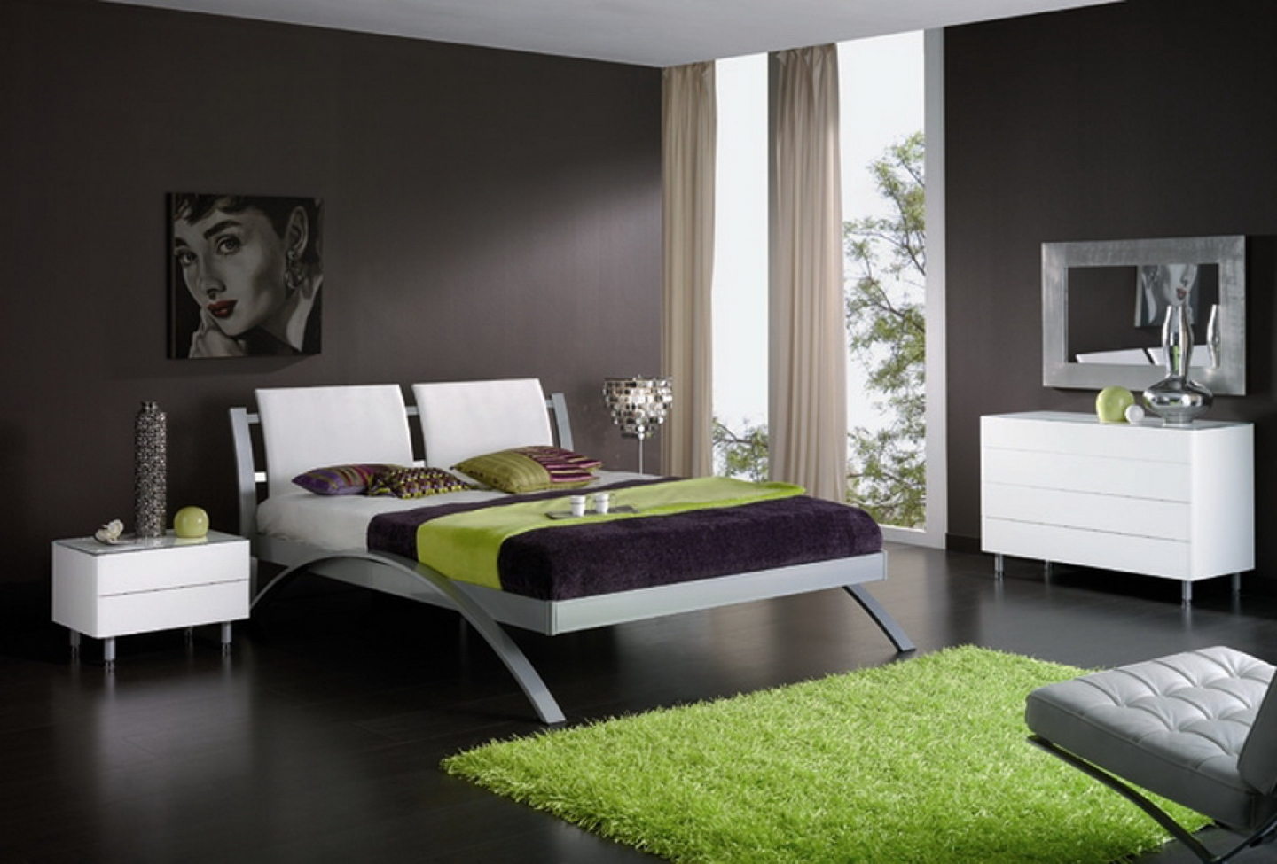 Bedroom Dazzling Black Themed Minimalist Bedroom Design