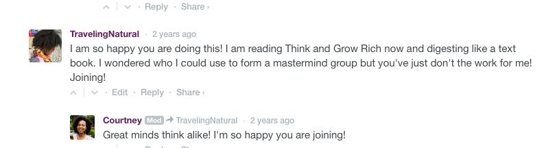 ThinkandGrow chick's Mastermind group