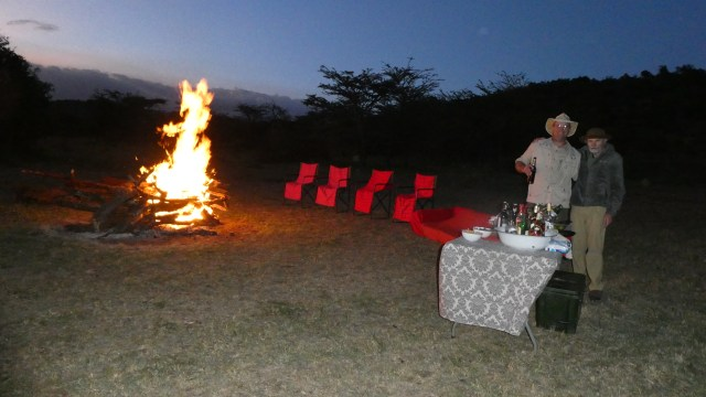Sunset bonfire during our Visit Kenya and Tanzania