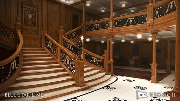 The classic staircase, as the ship itself a replica of that of the RMS Titanic. Photo: Blue Star Line handout