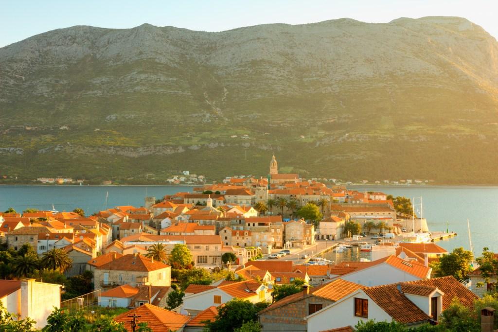 view of Korcula town, Croatia, Korcula island.