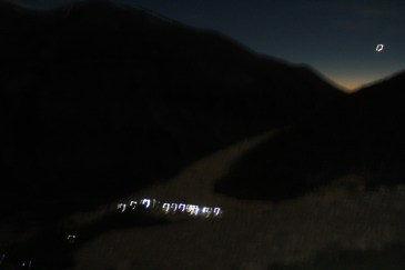 Trail of Trekkers' Headlights Behind Us While Trekking up to Torres