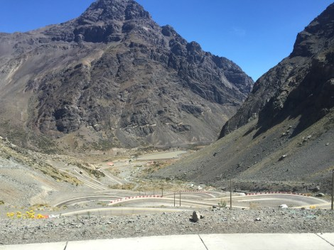 Winding Road Through Andes Mountains On Bus Ride to Santiago