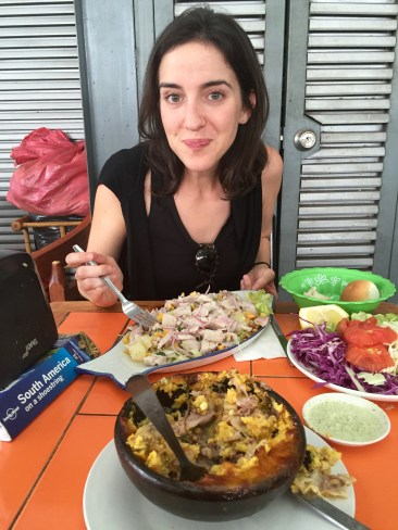 Lunch of Ceviche and Pastel de Choclo at Local Market