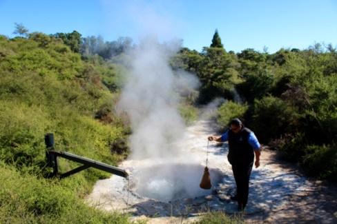 Cooking Eggs in Geothermal Pool