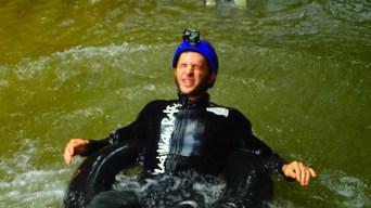 Jumping Into Freezing Water at Waitomo Caves