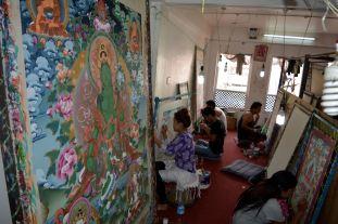 Inside Art Studio for Buddhist Paintings