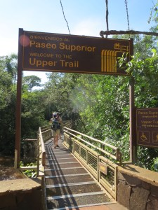 Sign to the upper trail
