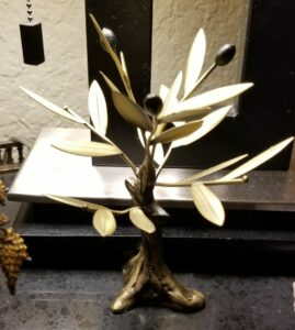 photo of a metal olive tree